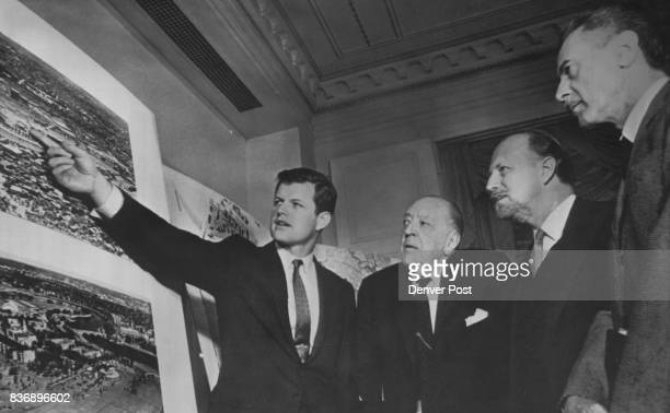 Kennedy Library Takes Form Sen Edward M Kennedy discusses with an advisory group of architects and designers preliminary plans for the John F Kennedy...