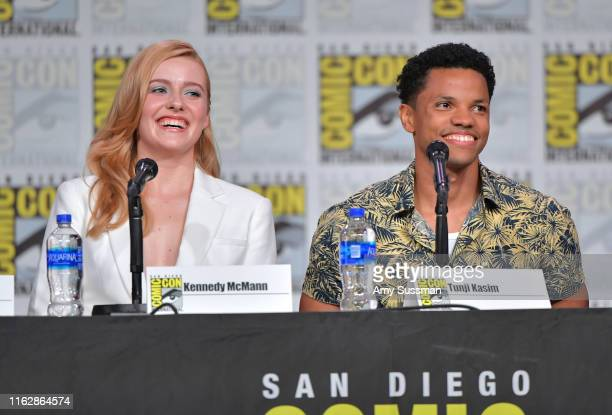 Kennedy McMann and Tunji Kasim speak at the Nancy Drew exclusive screening and panel during 2019 ComicCon International at San Diego Convention...
