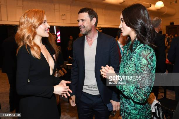 Kennedy McMann Dougray Scott and Maddison Jaizani pose in the green room during the The CW Network 2019 Upfronts at New York City Center on May 16...