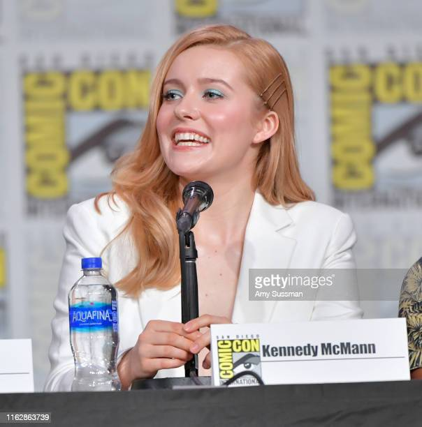 Kennedy McMann speaks at the Nancy Drew exclusive screening and panel during 2019 ComicCon International at San Diego Convention Center on July 18...