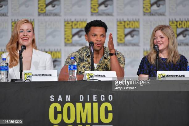 Kennedy McMann Tunji Kasim and Stephanie Savage speak at the Nancy Drew exclusive screening and panel during 2019 ComicCon International at San Diego...