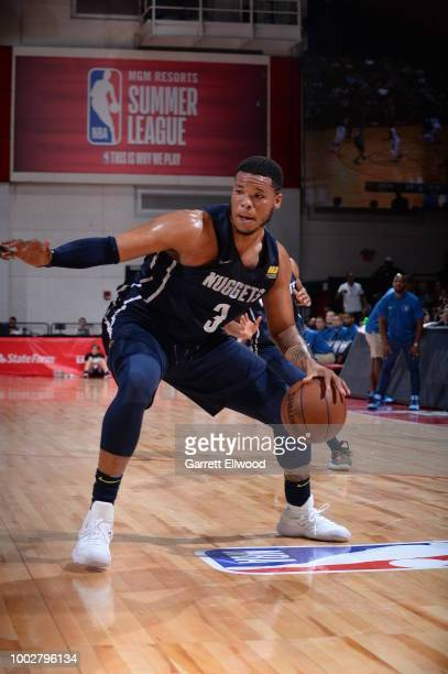 Kennedy Meeks of the Denver Nuggets handles the ball against the Minnesota Timberwolves during the 2018 Las Vegas Summer League on July 6 2018 at the...
