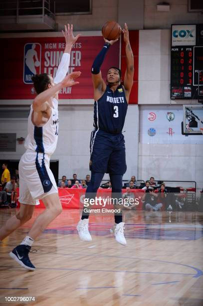 Kennedy Meeks of the Denver Nuggets shoots the ball against the the Minnesota Timberwolves during the 2018 Las Vegas Summer League on July 6 2018 at...