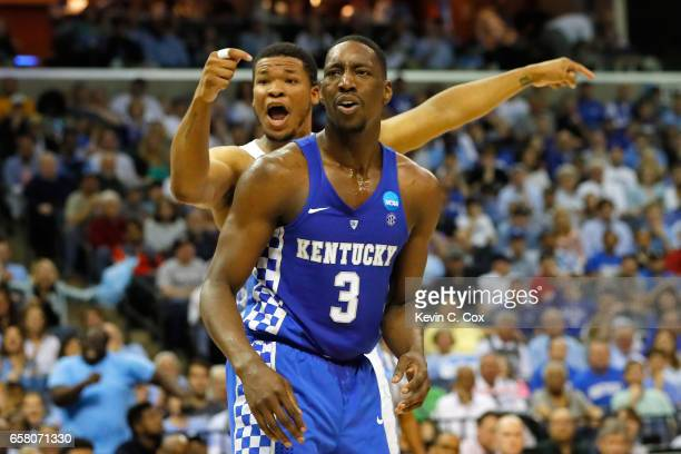 Kennedy Meeks of the North Carolina Tar Heels and Edrice Adebayo of the Kentucky Wildcats react after a play in the first half during the 2017 NCAA...