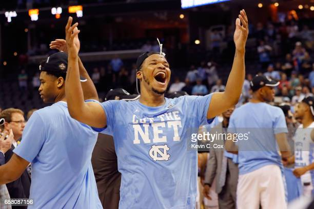 Kennedy Meeks of the North Carolina Tar Heels celebrates after defeating the Kentucky Wildcats during the 2017 NCAA Men's Basketball Tournament South...