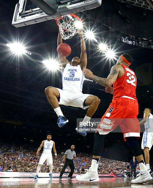 Kennedy Meeks of the North Carolina Tar Heels dunks the ball in the second half against the Syracuse Orange during the NCAA Men's Final Four...
