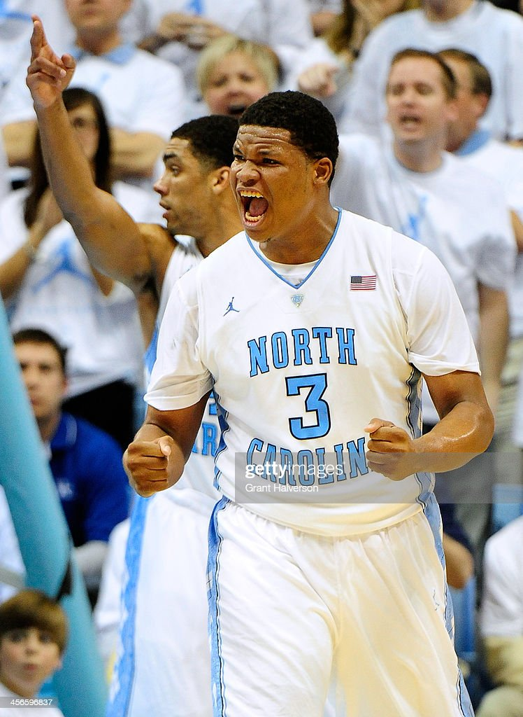 Kennedy Meeks #3 of the North Carolina Tar Heels reacts during a win over the Kentucky Wildcats at the Dean Smith Center on December 14, 2013 in Chapel Hill, North Carolina. North Carolina won 82-77.