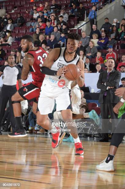 Kennedy Meeks of the Raptors 905 handles the ball during the NBA GLeague Showcase Game 22 between the Sioux Falls Skyforce and the Raptors 905 on...