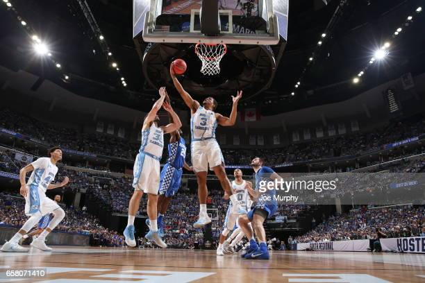 Kennedy Meeks of the University of North Carolina Tar Heels grabs a rebound against the University of Kentucky Wildcats during the 2017 NCAA Men's...