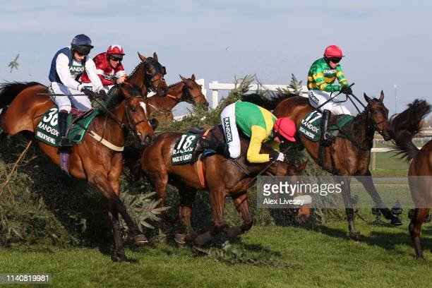 Kennedy riding Magic Of Light stumbles as he clears The Chair during the Randox Health Grand National Handicap Chase at Aintree Racecourse on April...