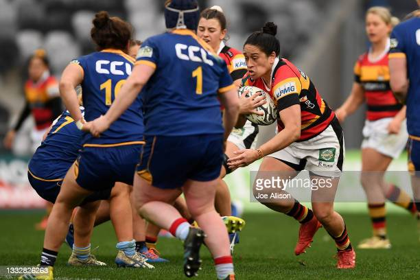 Kennedy Simon of Waikato makes a run with the ball during the round four Farah Palmer Cup match between Otago and Waikato at Forsyth Barr Stadium, on...