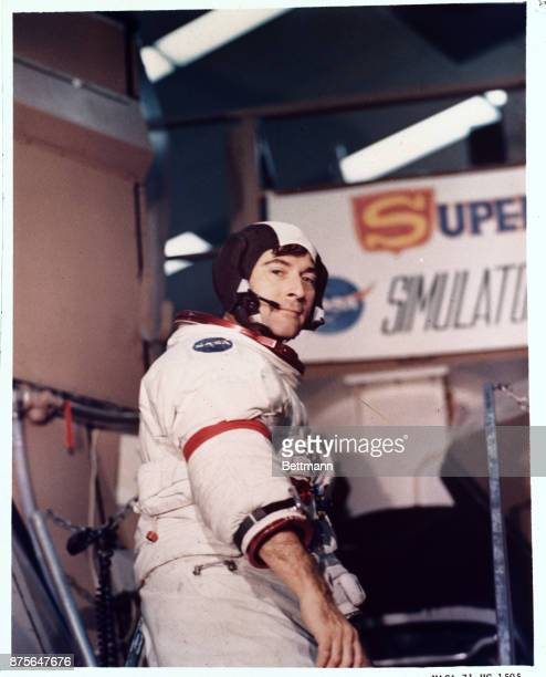 Kennedy Space Center FLAApollo 16 Mission Commander John W Young pauses on steps of mission simulator at the Kennedy Space Center He is a veteran of...