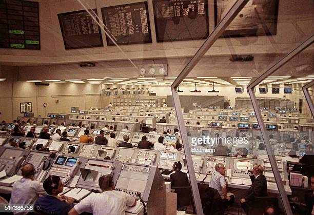 Kennedy Space Center Florida Personnel in Firing Room 2 of the Launch Control Center monitor prelaunch activities prior to the lift off of Apollo 12...