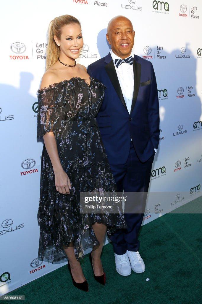 Kennedy Summers (L) and Russell Simmons at the Environmental Media Association's 27th Annual EMA Awards at Barkar Hangar on September 23, 2017 in Santa Monica, California.