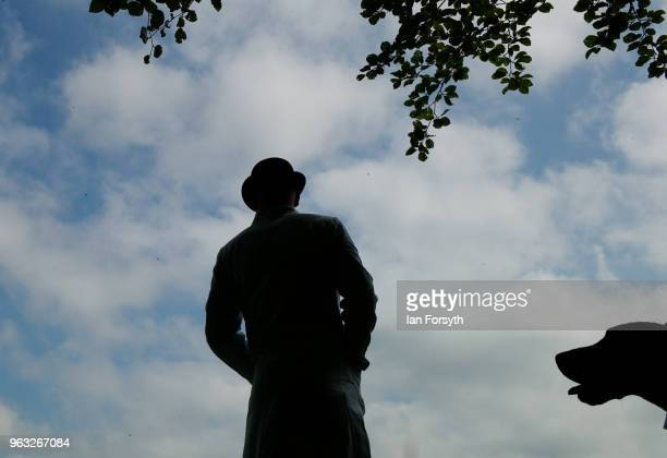 A kennel huntsman stands waiting to show his hounds during the Duncombe Park Country Fair on May 28 2018 in Helmsley England Set in the grounds of...