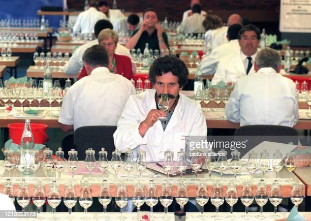 Kenner in Sachen Hochprozentigem prüfen am 24 Juni 1998 in Offenburg beim ersten Internationalen Qualitätswettbewerb für Obstbrände von...