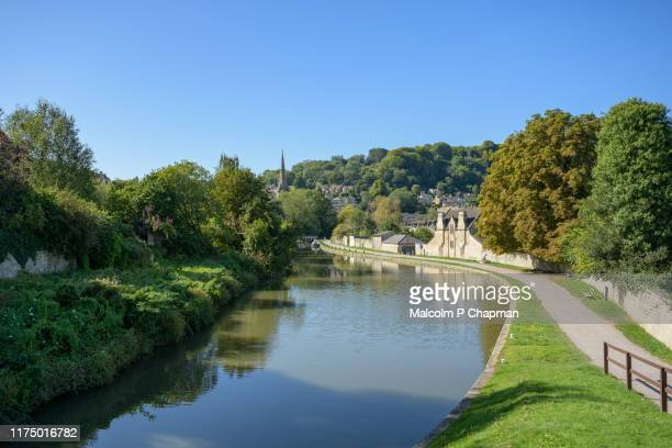 kennet and avon canal, bath, somerset, uk - tranquil scene stock pictures, royalty-free photos & images