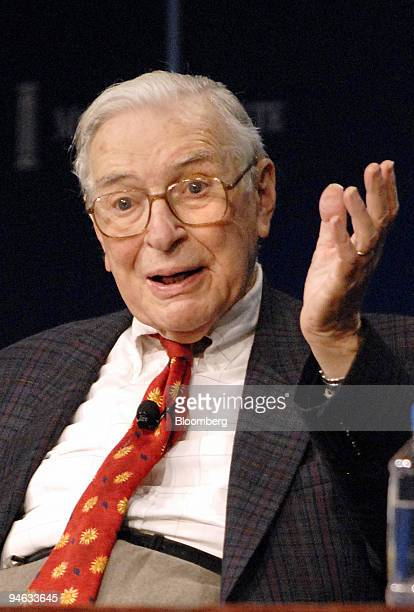 Kenneth Arrow, Nobel Laureate in Economic Sciences and Professor Emeritus at Stanford University, speaks at the Milken Institute Global Conference in...