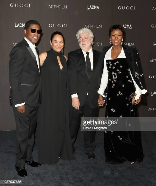 Kenneth 'Babyface' Edmonds actor Nicole Pantenburg directorproducer George Lucas and Ariel Investments President Mellody Hobson attend 2018 LACMA Art...