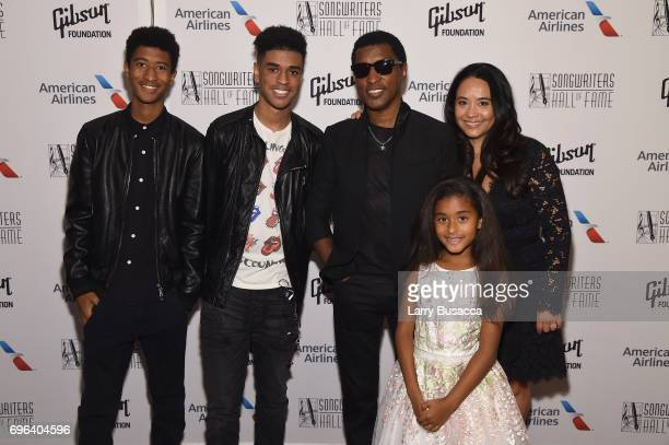 Kenneth 'Babyface' Edmonds and his family pose backstage at the Songwriters Hall Of Fame 48th Annual Induction and Awards at New York Marriott...