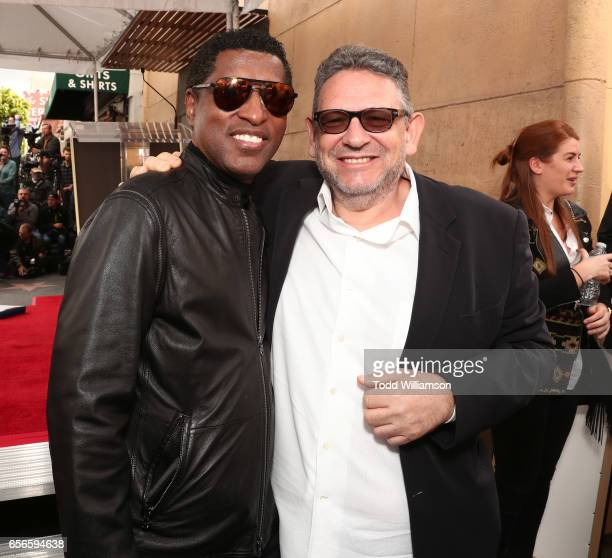 Kenneth 'Babyface' Edmonds and Sir Lucian Grainge attend a Star Ceremony on The Hollywood Walk Of Fame Honoring Haim Saban on March 22 2017 in...