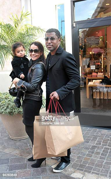 Kenneth Babyface Edmonds Nicole Pantenburg and Peyton Edmonds attend the HollyRod Foundation and JCrew private shopping event at The Grove on...