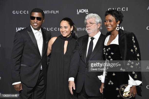 Kenneth Babyface Edmonds Nicole Pantenburg George Lucas and Mellody Hobson attend LACMA Art Film Gala 2018 at Los Angeles County Museum of Art on...