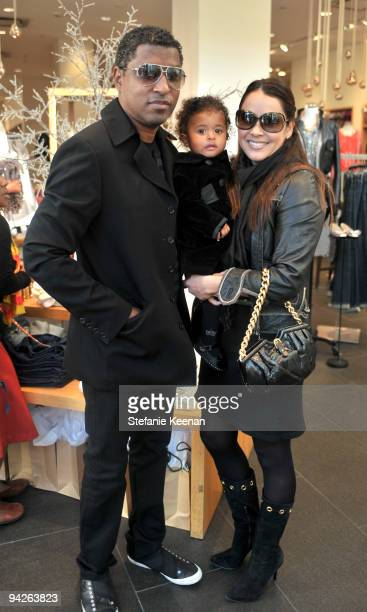 Kenneth Babyface Edmonds Peyton Edmonds and Nicole Pantenburg attend the HollyRod Foundation and JCrew private shopping event at The Grove on...