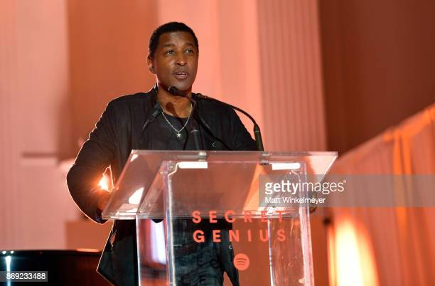 Kenneth 'Babyface' Edmonds speaks onstage during Spotify's Inaugural Secret Genius Awards hosted by Lizzo at Vibiana on November 1 2017 in Los...