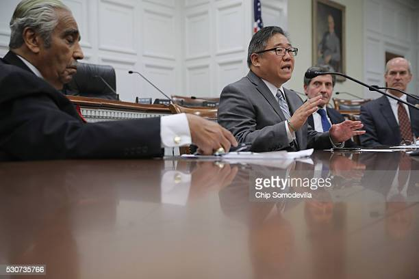 Kenneth Bae delivers remarks during an event to promote his new book Not Forgotten with Rep Charles Rangel Ambassador Joseph DeTrani and Rep Rick...