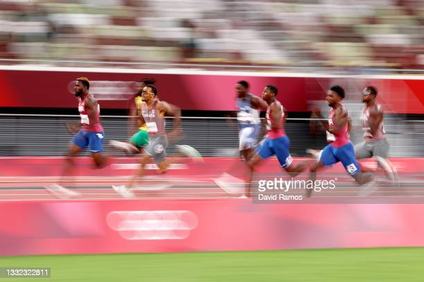Kenneth Bednarek of Team United States and Andre De Grasse of Team Canada compete in the Men's 200m Final on day twelve of the Tokyo 2020 Olympic...