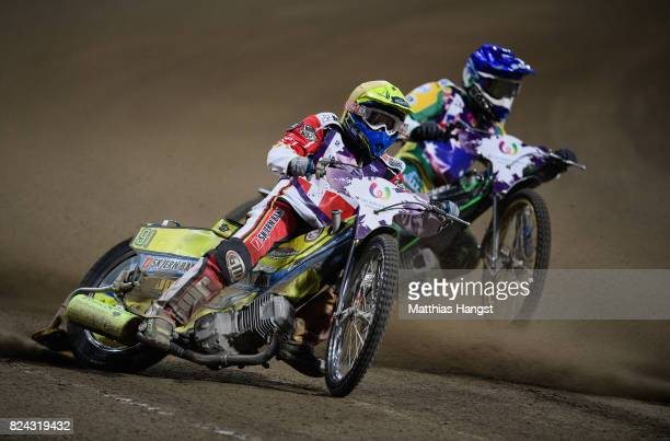Kenneth Bjerre of Demark competes against Max Fricke of of Australia during the Invitation Sports Speedway competition of The World Games at the...