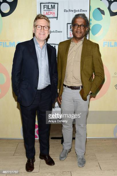 Kenneth Branagh and Elvis Mitchell attend the Film Independent at LACMA presents 'Jack Ryan Shadow Recruit' screening and QA at Bing Theatre At LACMA...