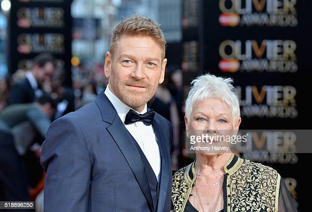 Kenneth Branagh and Judi Dench attend The Olivier Awards with Mastercard at The Royal Opera House on April 3 2016 in London England