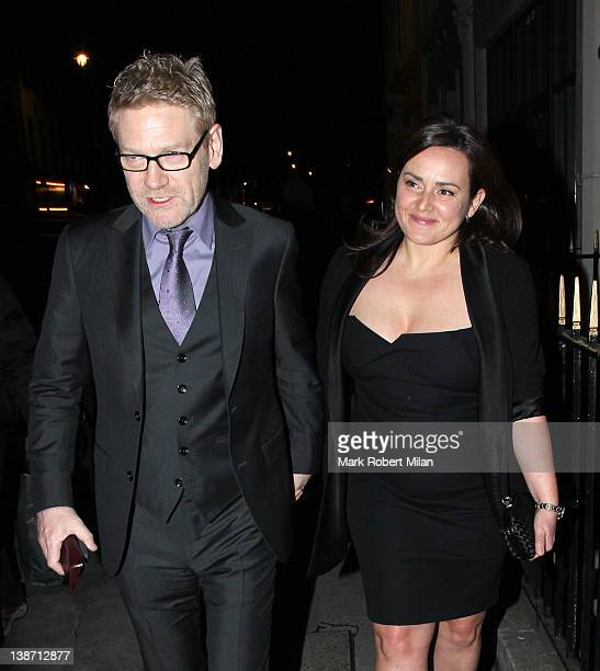 Kenneth Branagh and Lindsay Brunnock are seen outside of the preOrange British Academy Film Awards party on February 10 2012 in London England