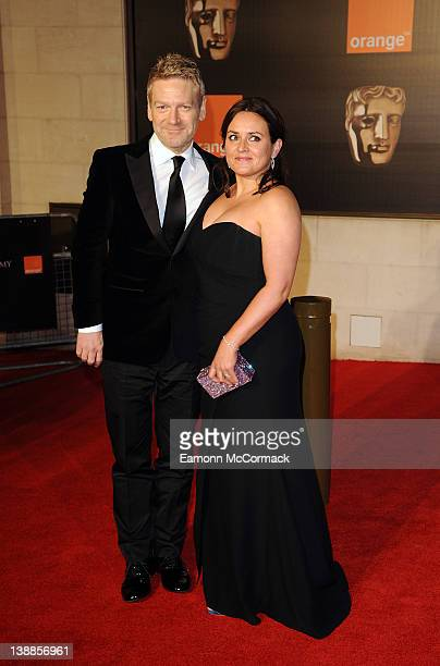 Kenneth Branagh and Lindsay Brunnock arrive at the after party of Orange British Academy Film Awards 2012 at Grosvenor House on February 12 2012 in...
