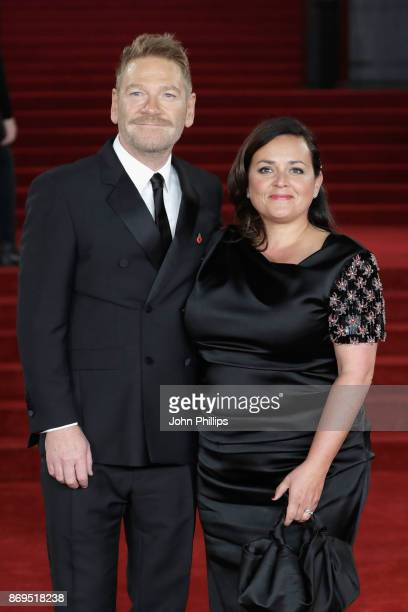 Kenneth Branagh and Lindsay Brunnock attend the 'Murder On The Orient Express' World Premiere at Royal Albert Hall on November 2 2017 in London...
