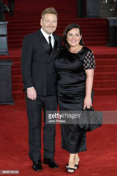 Kenneth Branagh and Lindsay Brunnock attend the 'Murder On The Orient Express' World Premiere at Royal Albert Hall on November 2, 2017 in London,...