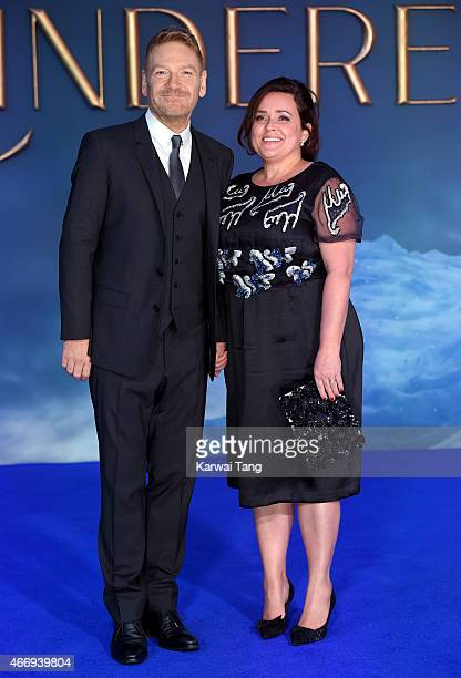"""Kenneth Branagh and Lindsay Brunnock attend the UK Premiere of """"Cinderella"""" at Odeon Leicester Square on March 19, 2015 in London, England."""