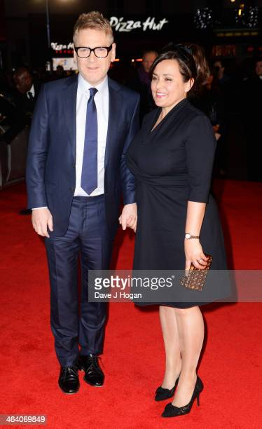 Kenneth Branagh and Lindsay Brunnock attend the UK premiere of 'Jack Ryan Shadow Recruit' on January 20 2014 in London England