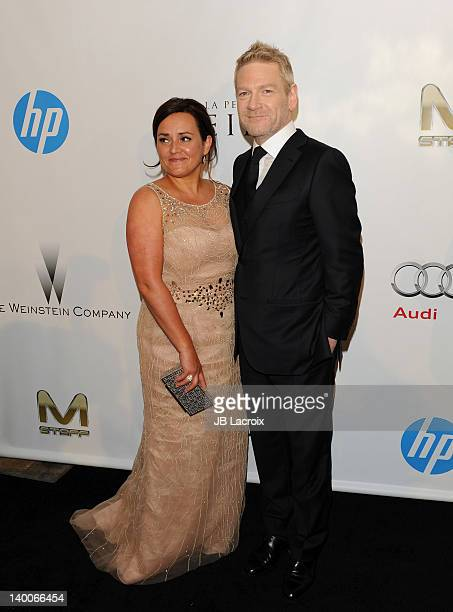 Kenneth Branagh and Lindsay Brunnock attend The Weinstein Company Post Oscar Party held at Mondrian Los Angeles on February 26 2012 in West Hollywood...