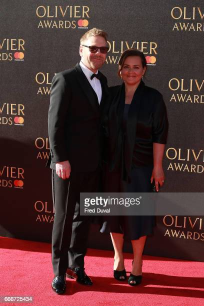 Kenneth Branagh and Lindsay Brunnock during The Olivier Awards 2017 at Royal Albert Hall on April 9, 2017 in London, England.