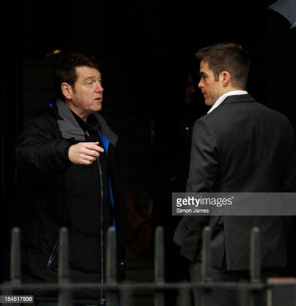 Kenneth Branagh Chris Pine on the film set of 'Jack Ryan' on October 21 2012 in London England