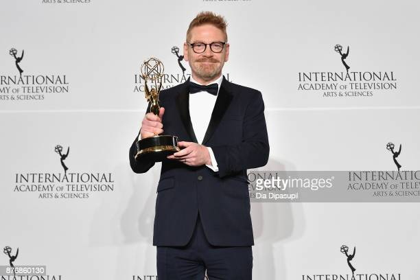Kenneth Branagh poses with award for best performance by an actor in Wallander at the 45th International Emmy Awards at New York Hilton on November...