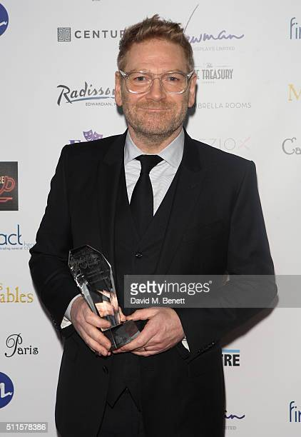 Kenneth Branagh with his Equity Award for Services to Theatre during the 16th Annual WhatsOnStage Awards at The Prince of Wales Theatre on February...