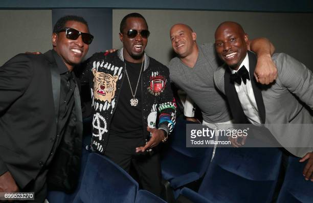 Kenneth Brian Edmonds aka BabyFace Sean Combs Vin Diesel and Tyrese Gibson attend the Los Angeles Premiere of Can't Stop Won't Stop at the Writers...
