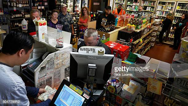 SAN PEDRO CA TUESDAY JANUARY 12 2016 Kenneth Chan who owns Mr C's Liquor in San Pedo Ca has been doing a brisk business in Powerball ticket sales in...