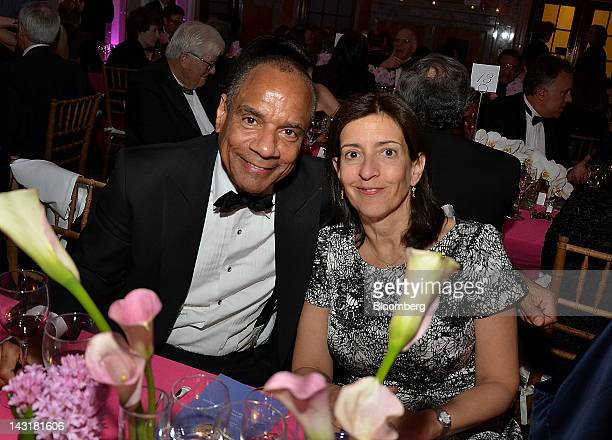 Kenneth Chenault chairman and chief executive officer of American Express Co and Susan Freedman president of the Public Art Fund Inc sit for a...
