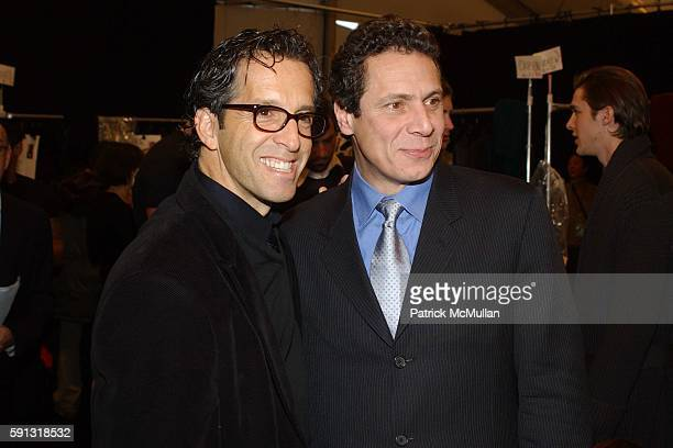 Kenneth Cole and Andrew Cuomo attend Kenneth Cole Fall 2005 Fashion Show at The Tent at Bryant Park on February 4 2005 in New York City