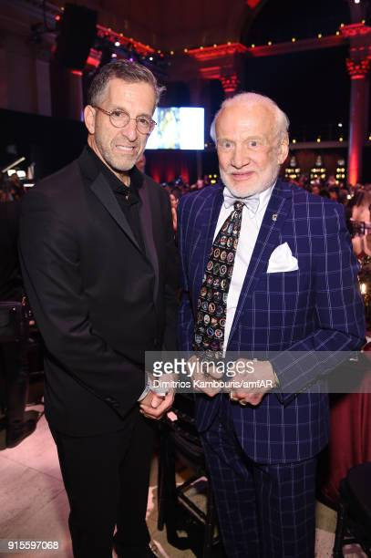 Kenneth Cole and Buzz Aldrin attend the 2018 amfAR Gala New York at Cipriani Wall Street on February 7 2018 in New York City
